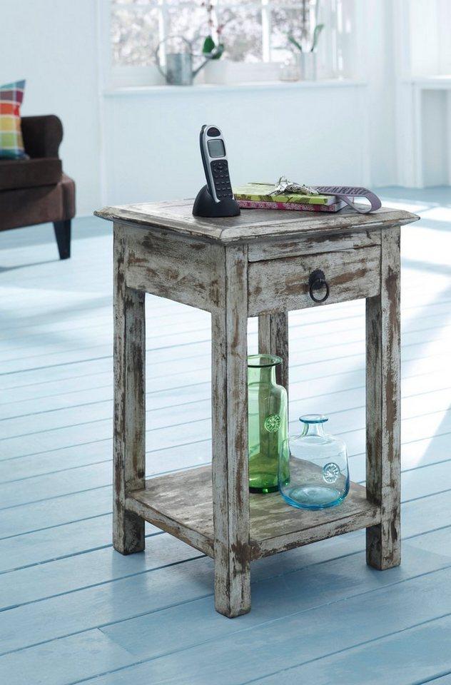 Möbel aus recyceltem holz  WOLF MÖBEL Telefontisch mit 1 Schublade aus recyceltem Holz ...