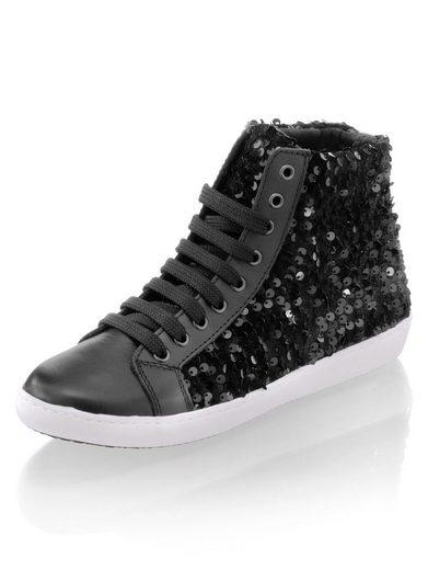 Alba Moda Sneaker im Leder-Samt-Mix mit Pailletten