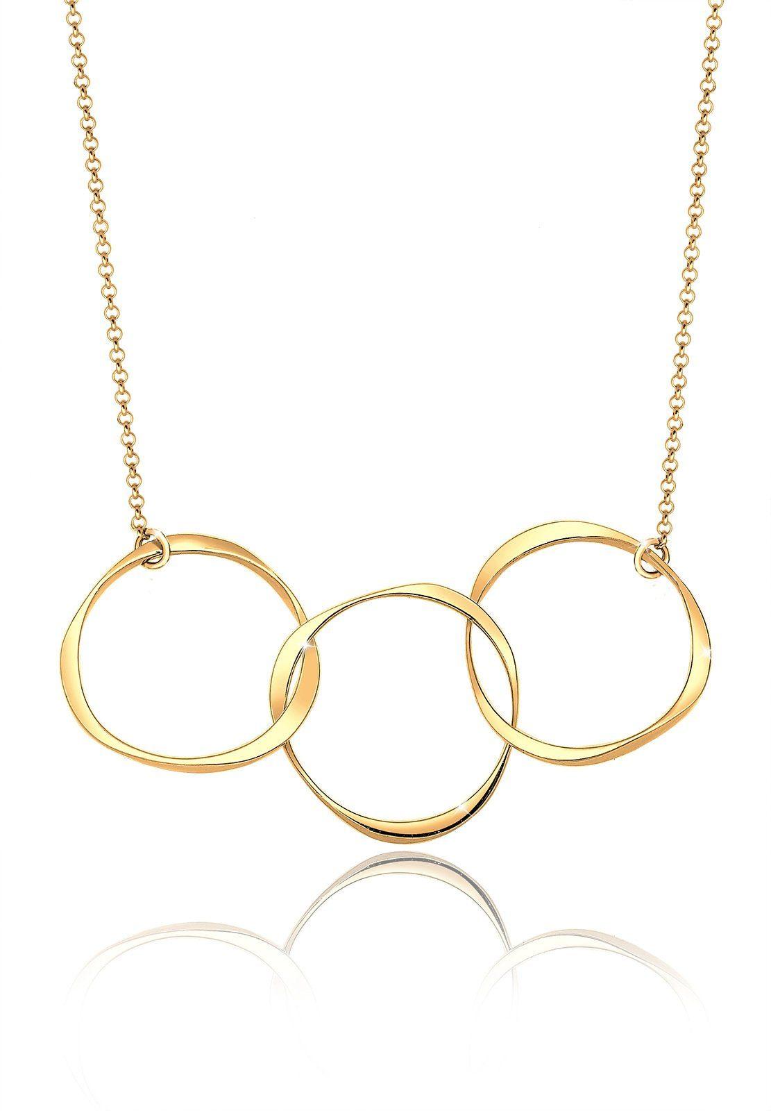 Elli Halskette »Kreis Geo 925 Sterling Silber vergoldet«