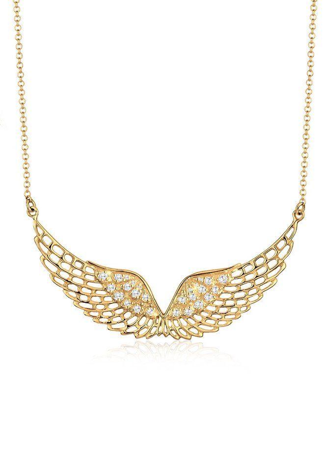 Elli Halskette »Flügel Zirkonia 925 Sterling Silber vergoldet«