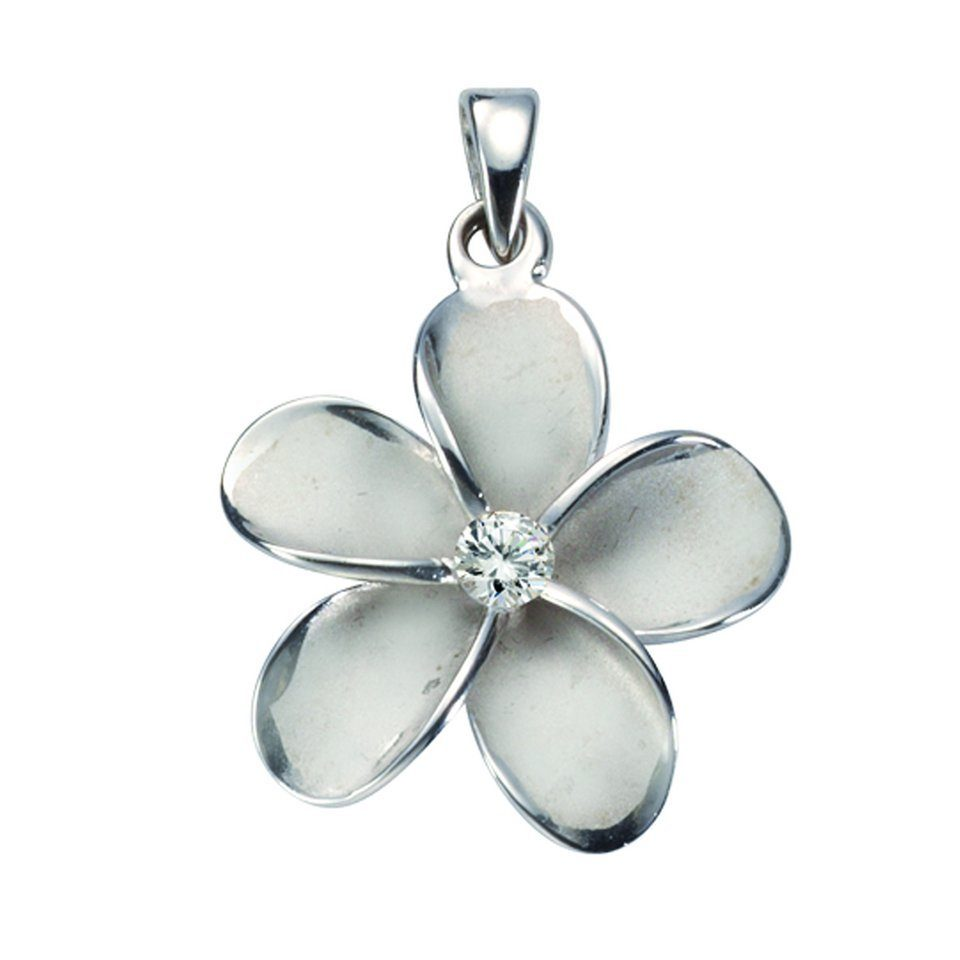 Firetti Anhänger »925/- Sterling Silber rhodiniert Blume 1x Zirkonia«