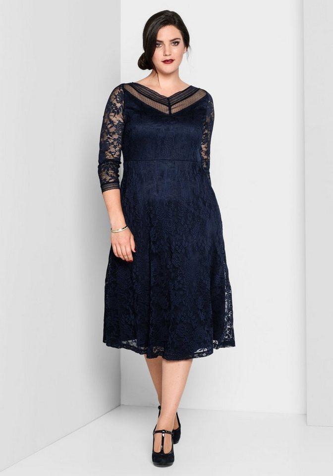 sheego Style Abendkleid, mit transparenten Ärmeln   OTTO