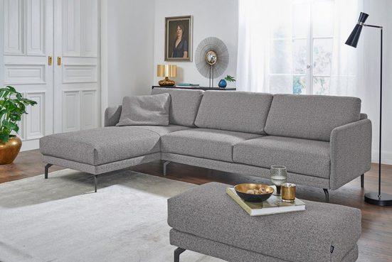 hülsta sofa Ecksofa »hs.450«, Armlehne sehr schmal, Breite 234 cm, Alugussfuß Umbragrau, wahlweise Stoff oder Leder
