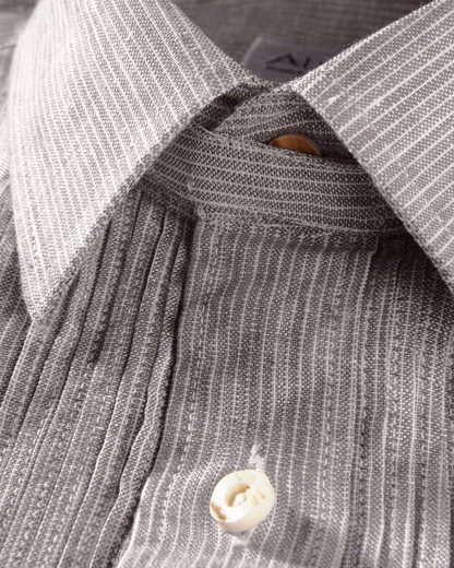 Almsach Linen Stripe Shirt Slim