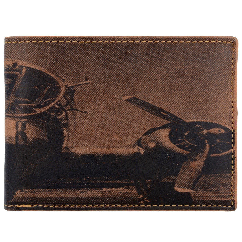 Greenburry Vintage Aeroplane Geldbörse Leder 12,5 cm