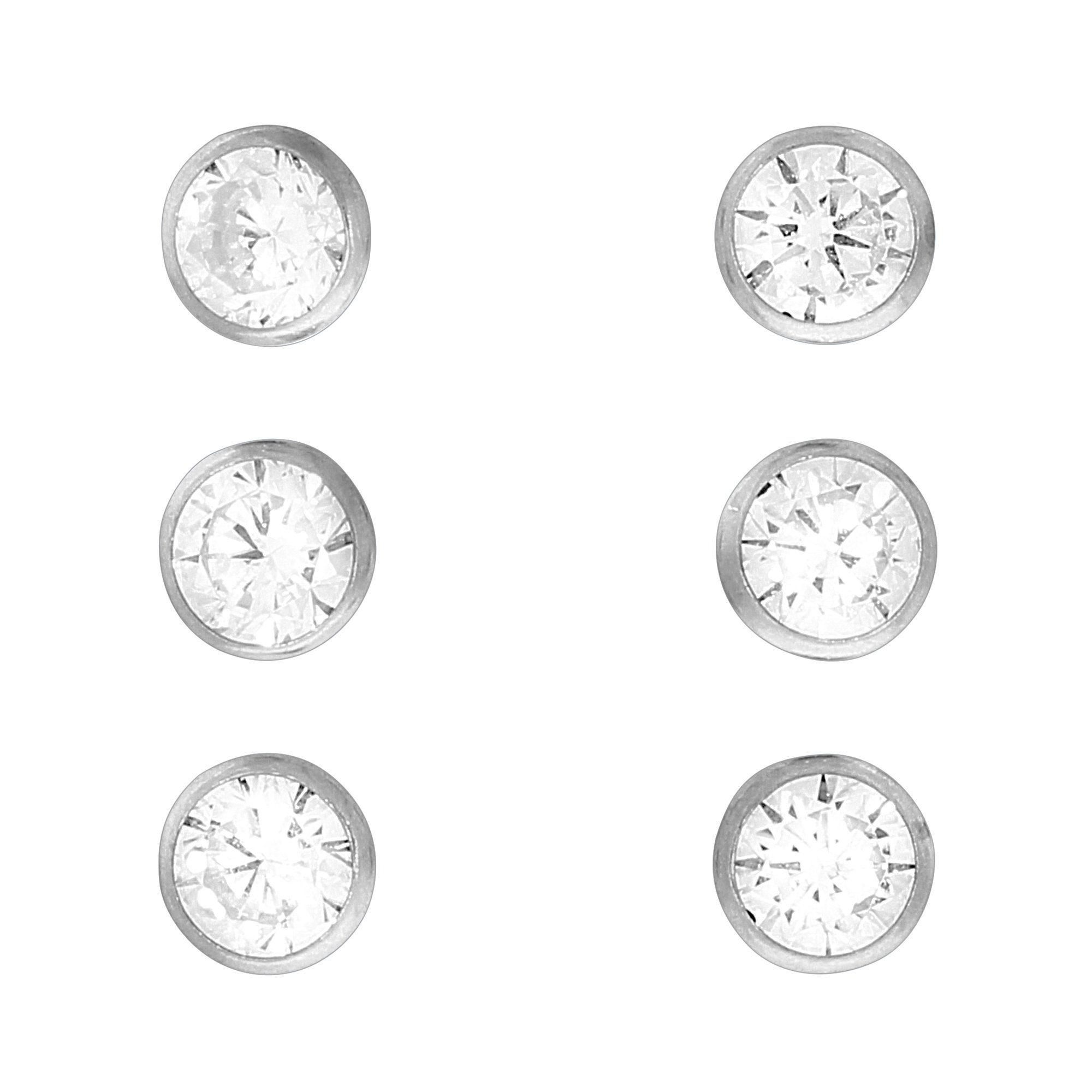 Firetti Ohrstecker »925/- Sterling Silber Set 3 Paar 4mm«