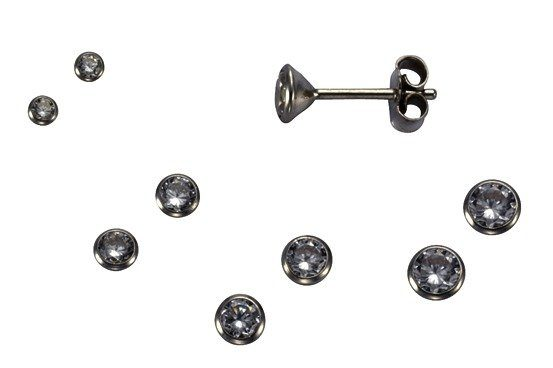 Firetti Ohrstecker »935/- Sterling Silber rhod. 3 Paar 3,5mm«