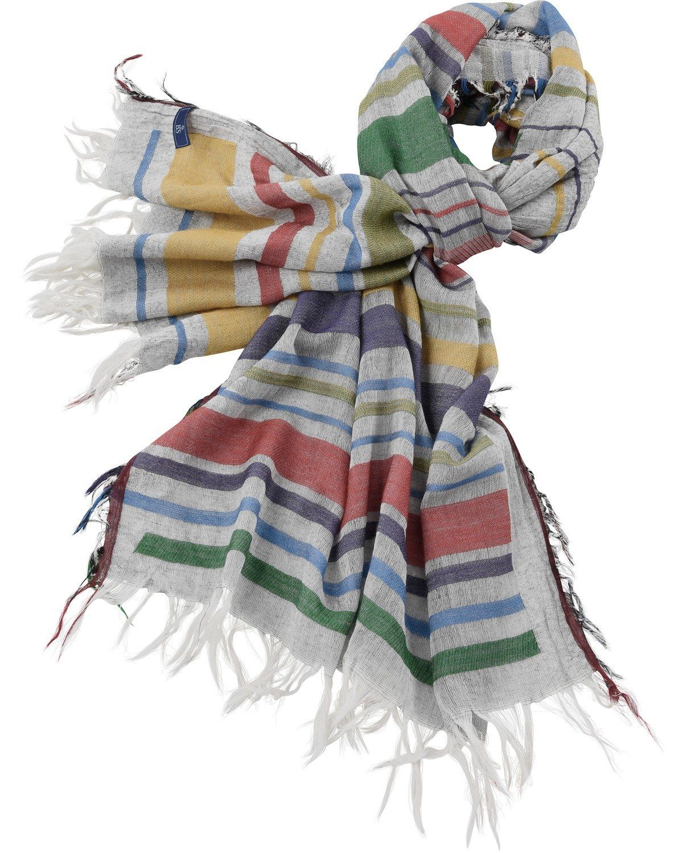 Brigitte von Schönfels Schal mit bunten Streifen