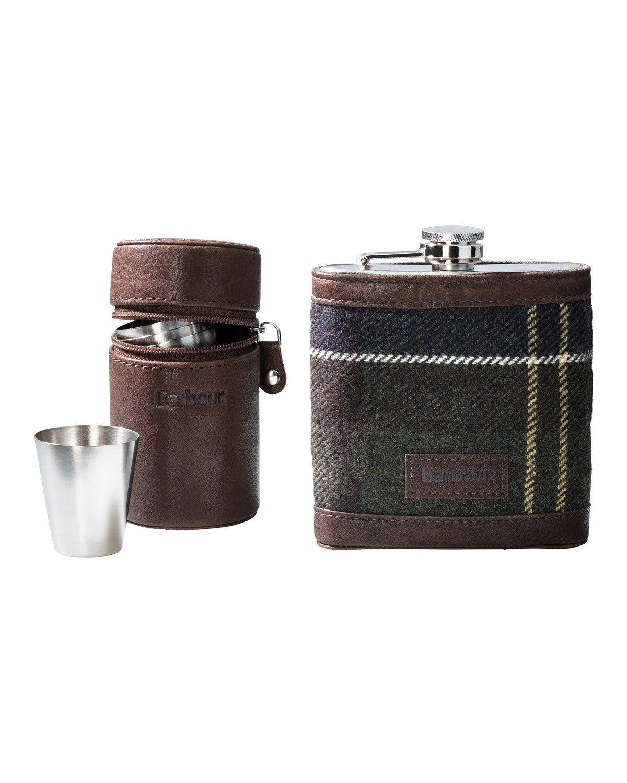 Barbour Geschenkset Tartan Hip Flask & Cups