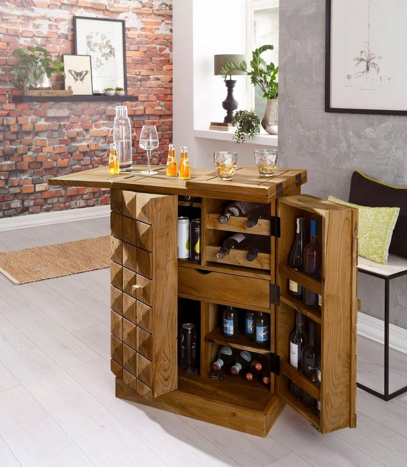 home affaire hausbar barschrank natalie aus massivholz in 3 d optik online kaufen otto. Black Bedroom Furniture Sets. Home Design Ideas