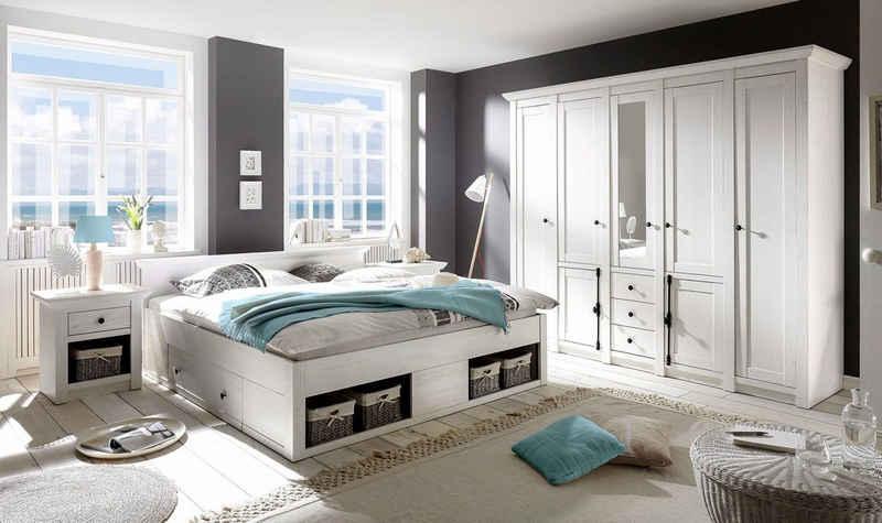 Home affaire Schlafzimmer-Set »California«, (Set, 4-St), groß: Bett 180 cm, 2 Nachttische, 5-trg Kleiderschrank