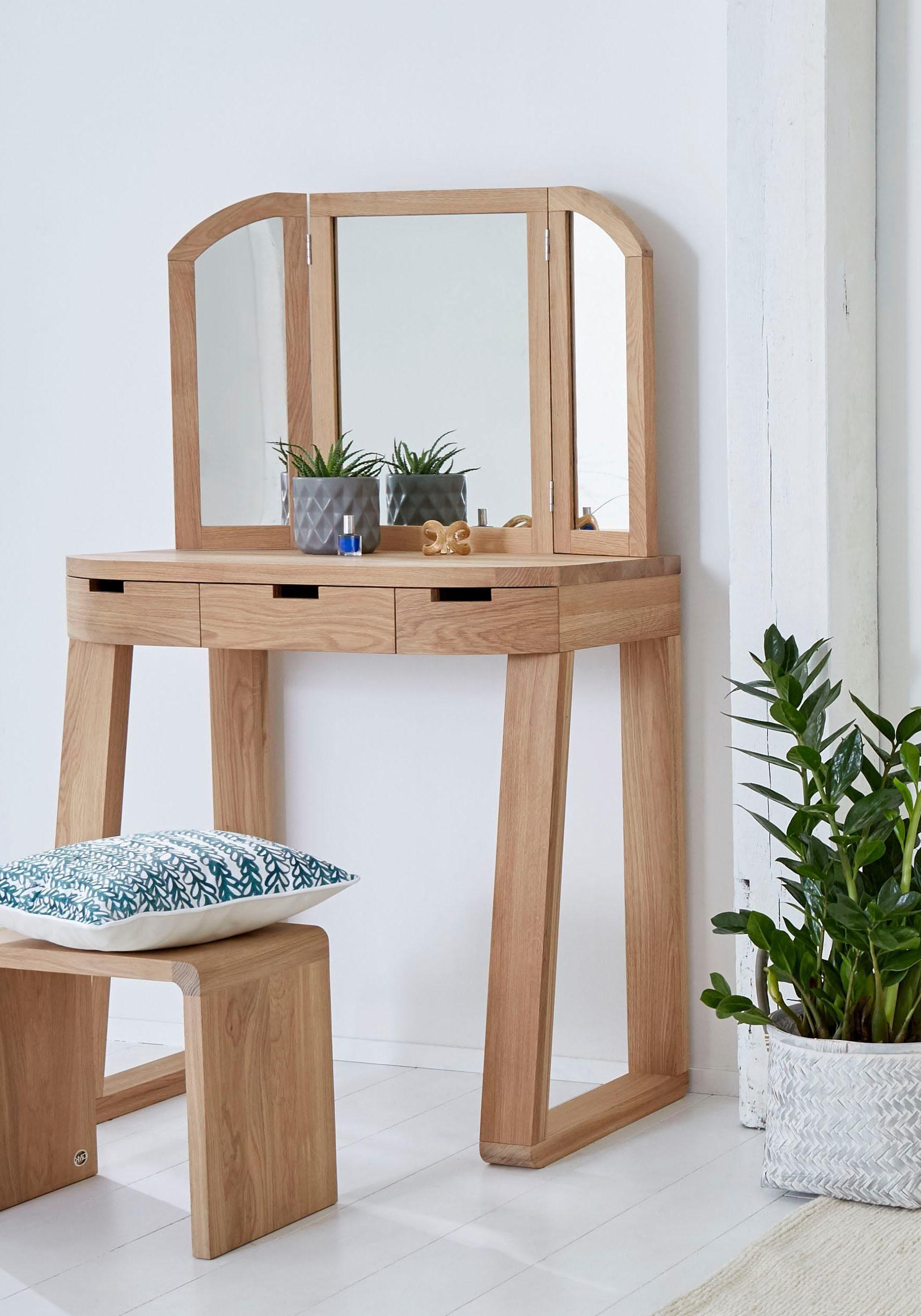 GMK Home & Living Schminktisch «Janno», aus massiver Eiche, Breite 90 cm