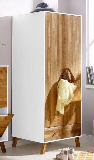 Home affaire Garderobenschrank »Rondo« Korpus aus Holzwerkstoff, Fronten, Griffe und Füße aus massivem Kiefernholz, Breite 75 cm