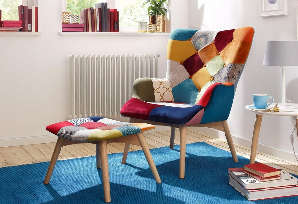 home affaire patchwork-armsessel mit hocker »washington«, breite 75, Design ideen