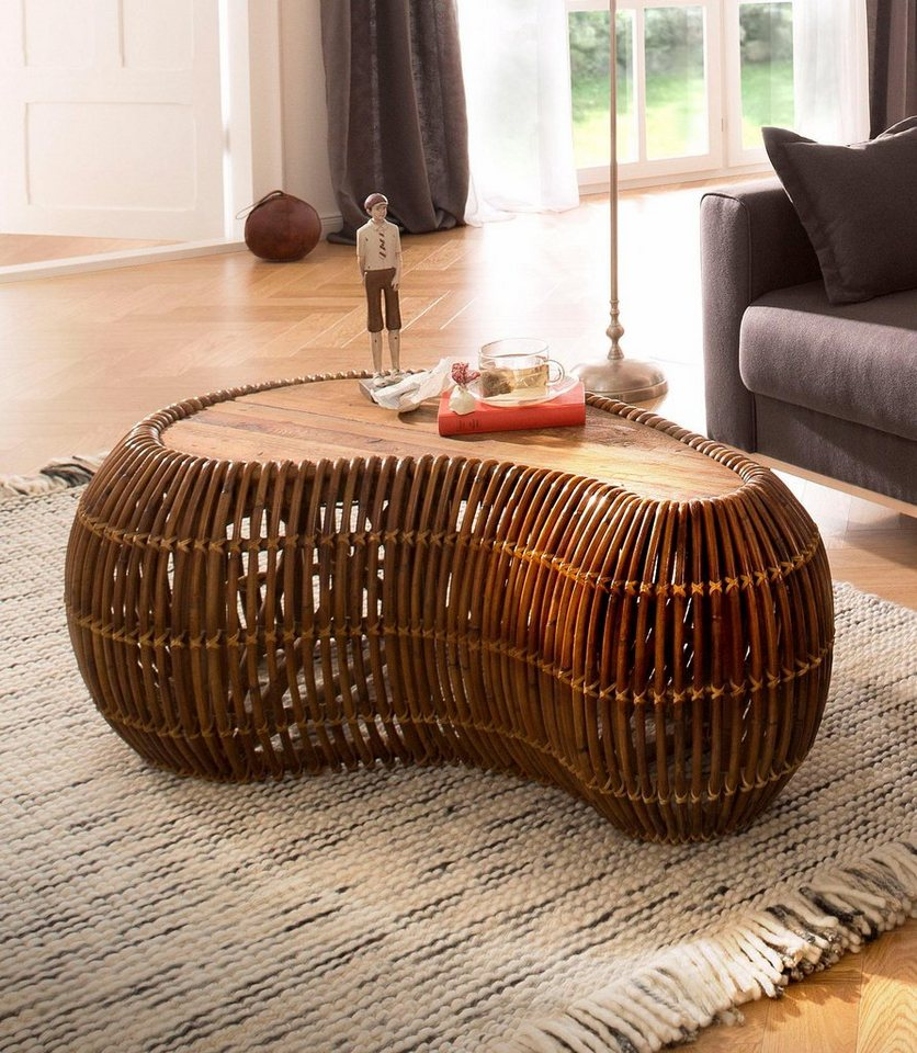 sit couchtisch rattan vintage 120 80 cm in nierenform. Black Bedroom Furniture Sets. Home Design Ideas