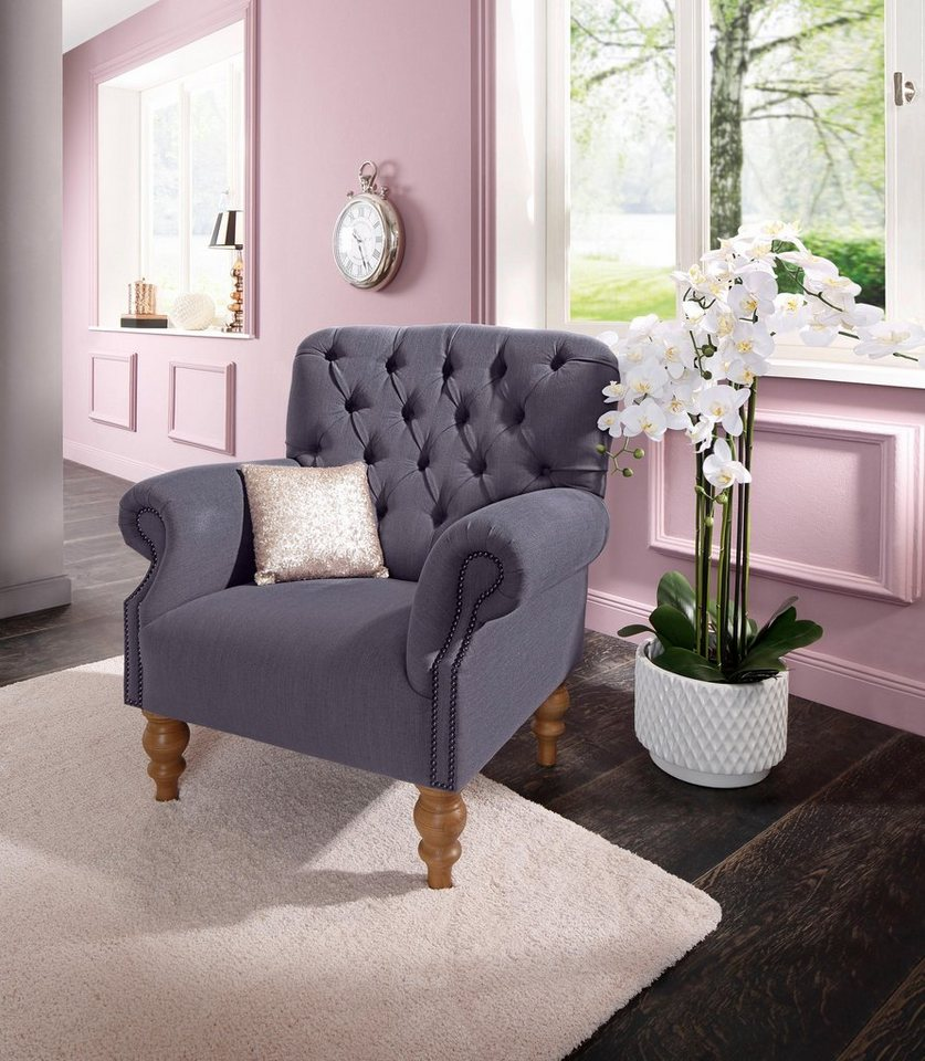 home affaire sessel lord mit echter chesterfield. Black Bedroom Furniture Sets. Home Design Ideas