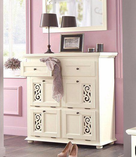 Premium collection by Home affaire Schuhkommode »Arabeske«, mit schönen eingefrästen Ornamenten auf den Klappenfronten, Breite 115 cm