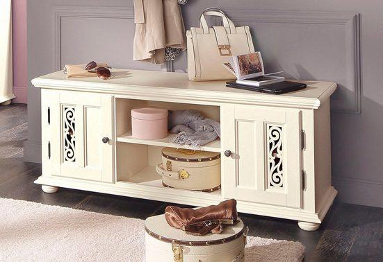 Premium collection by Home affaire Sitzbank »Arabeske«, mit schönen dekorativen Fräsungen auf den Türfronten, Kugelholzfüße, Metallgriffe, Breite 120 cm