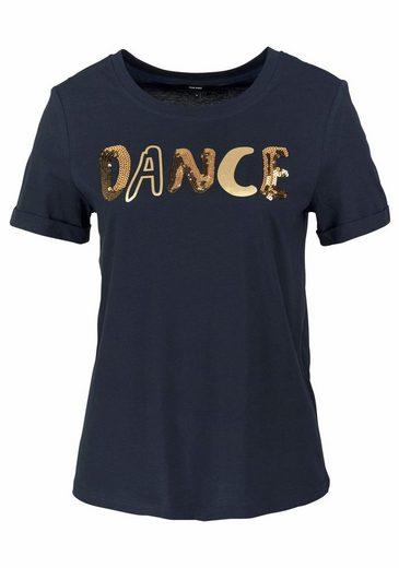 Vero Moda Rundhalsshirt DANCE, mit goldfarbenem Schriftzug und Pailletten