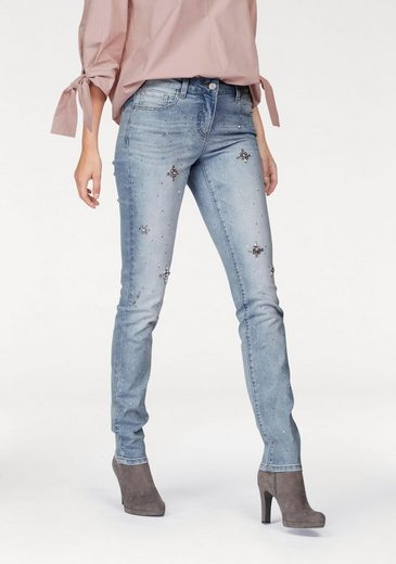 Vivance Tube Jeans With Rhinestones Front-painting And Decorating