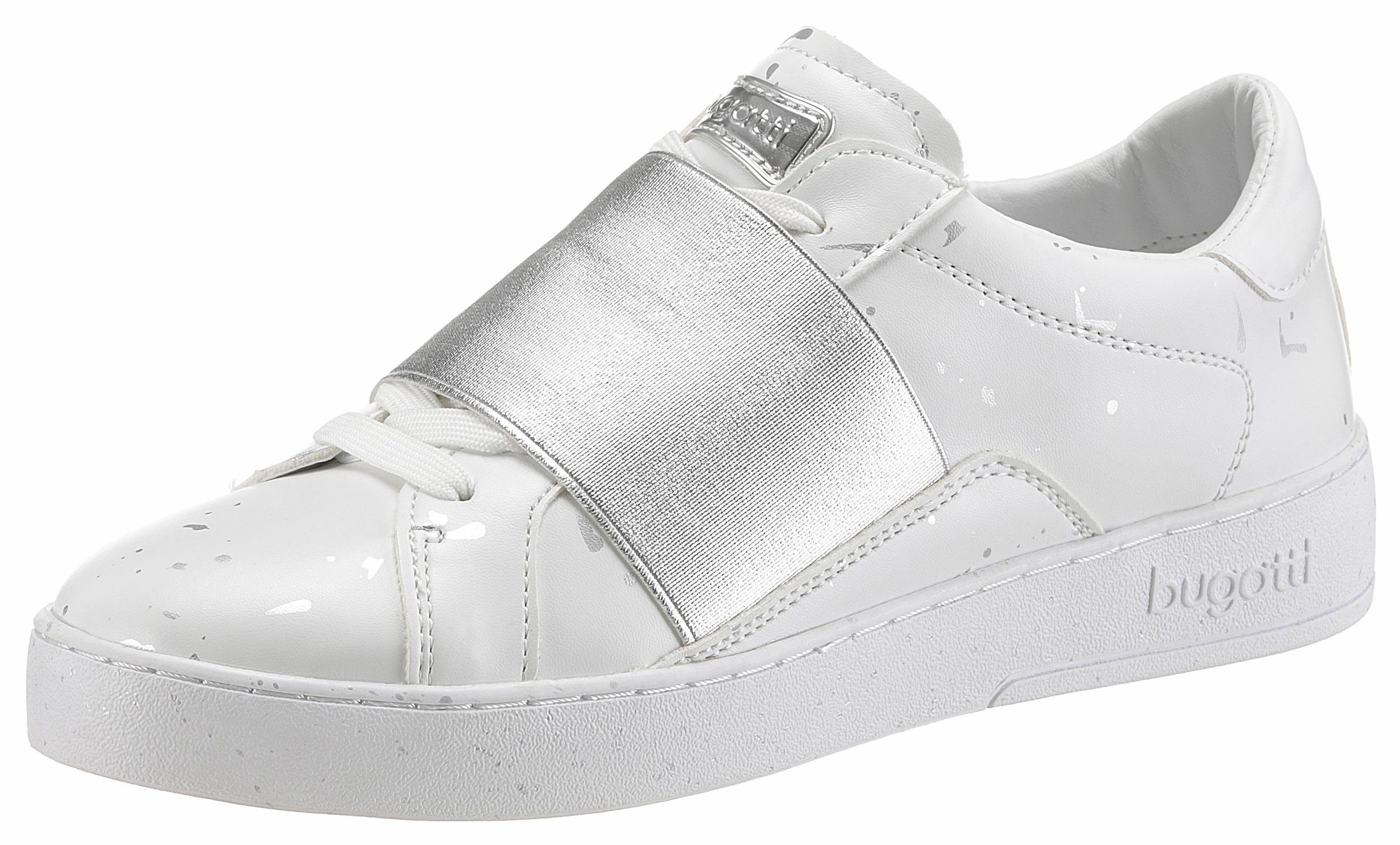 Bugatti Slip-On Sneaker, mit Gummizug über dem Rist, weiß, weiß-silberfarben