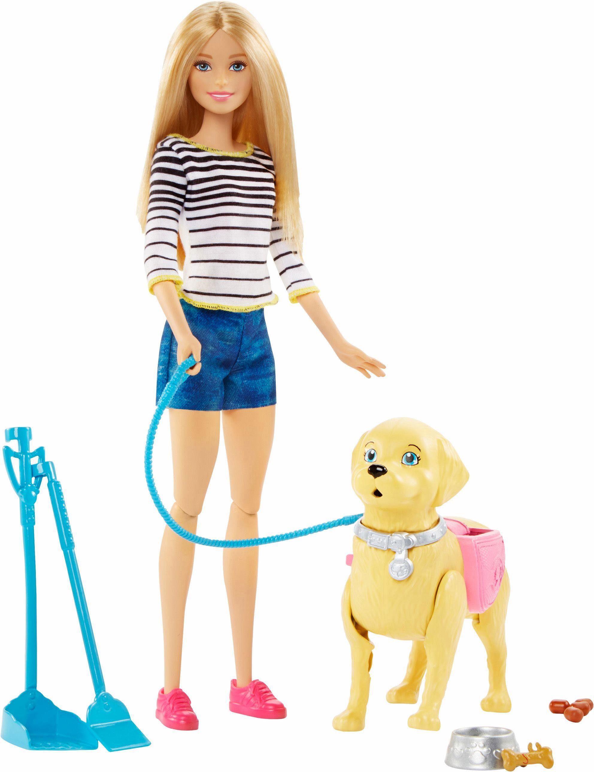 Mattel Puppe, »Barbie, Hundespaziergang Barbie & Hündchen«