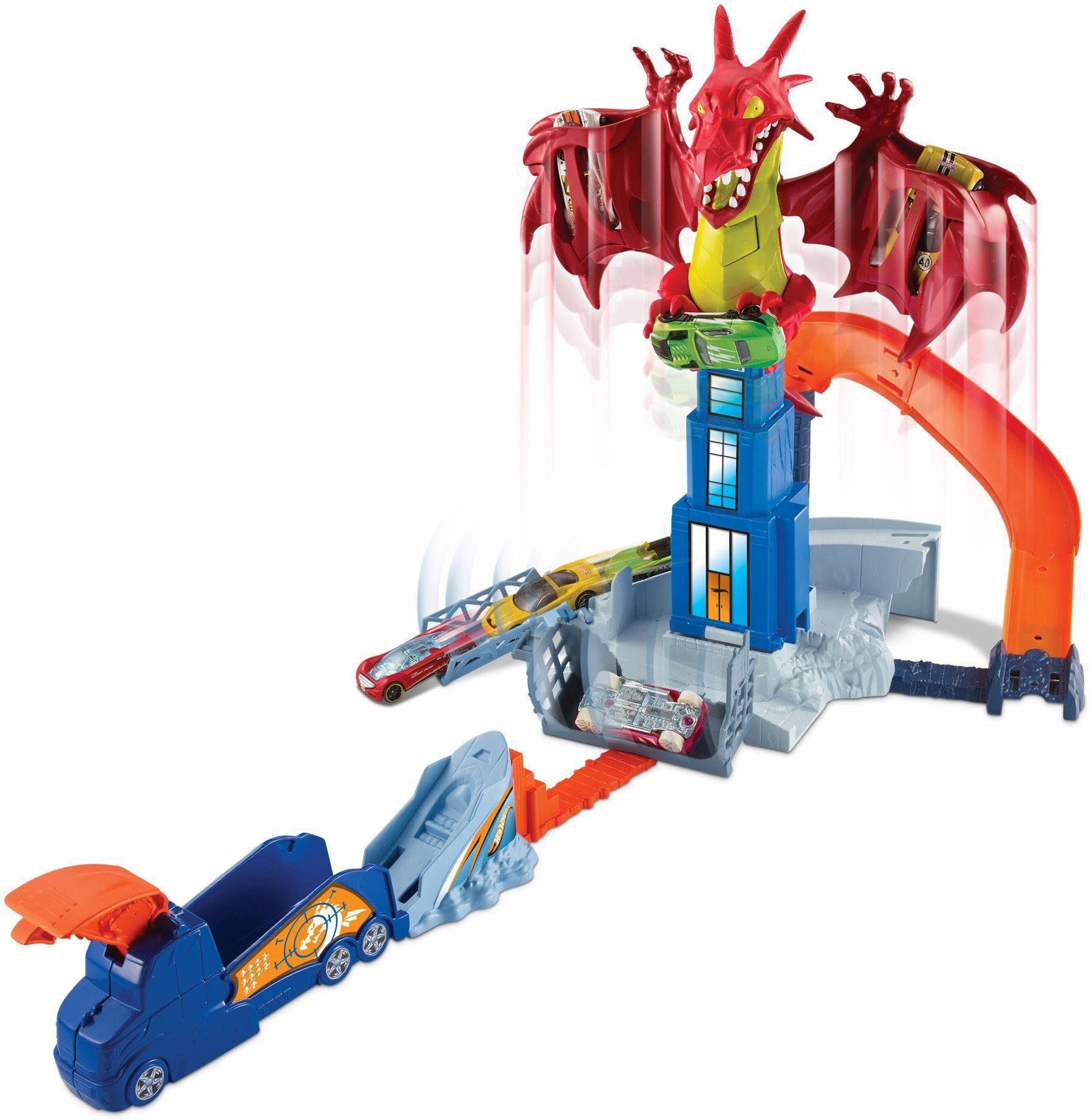 Mattel Autorennbahn mit Fahrzeug, »Hot Wheels® Drachen-Attacke Spielset«