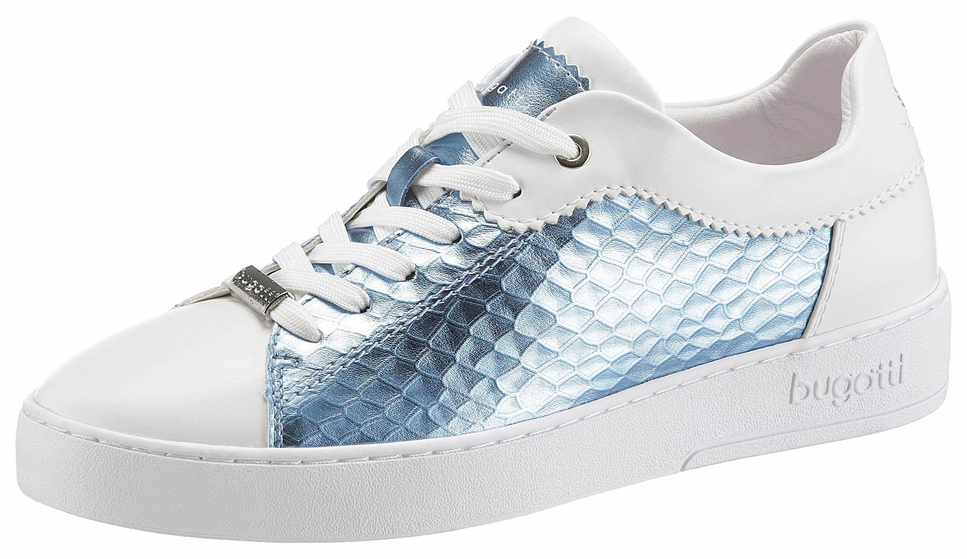 Bugatti Sneaker, in Metallic-Optik online kaufen  weiß-blau