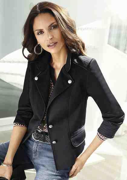 Alessa W. Jersey-Blazer mit Lederimitat-Besatz