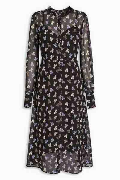 Next Gemustertes Kleid mit Knopfleiste
