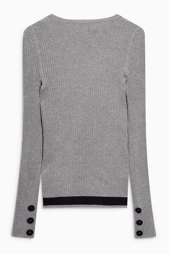 Next Gerippter Pullover mit Knopfdetails