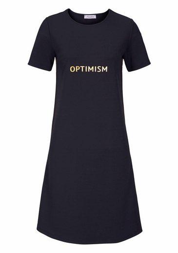 """Aniston Etuikleid, mit """"optimistischem"""" Schriftzug"""