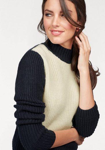 Tamaris Stehkragen Pullover In Color-blocking Optics