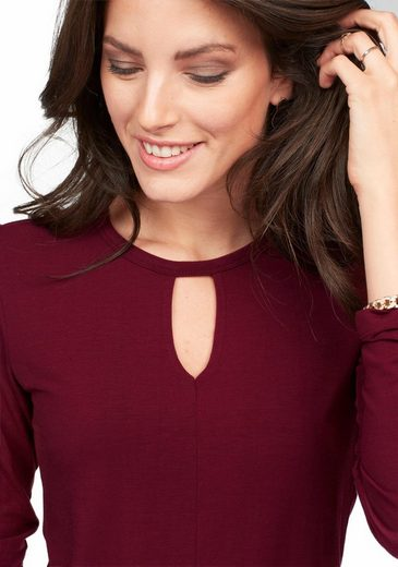 Aniston Langarmshirt, mit Cut-out Ausschnitt