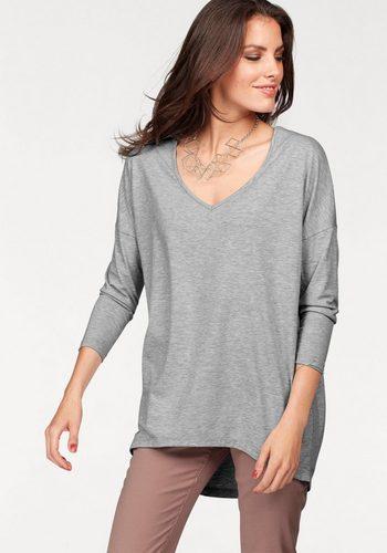 Damen Aniston by BAUR Longshirt im Vokuhila-Stil grau | 08699050277412