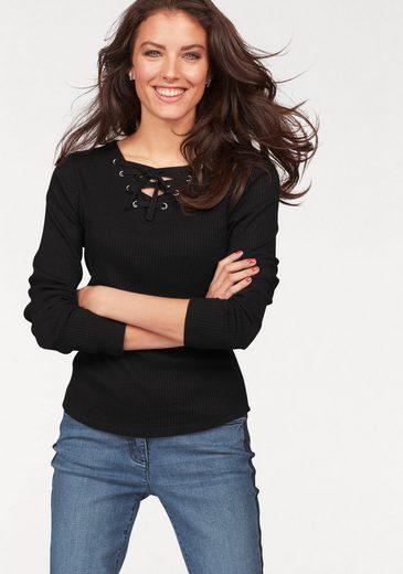 Aniston Langarmshirt, mit Schnürung