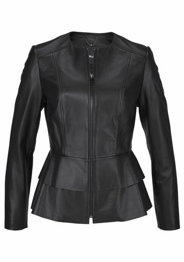 Tamaris Leather Jacket With Trendy Volants