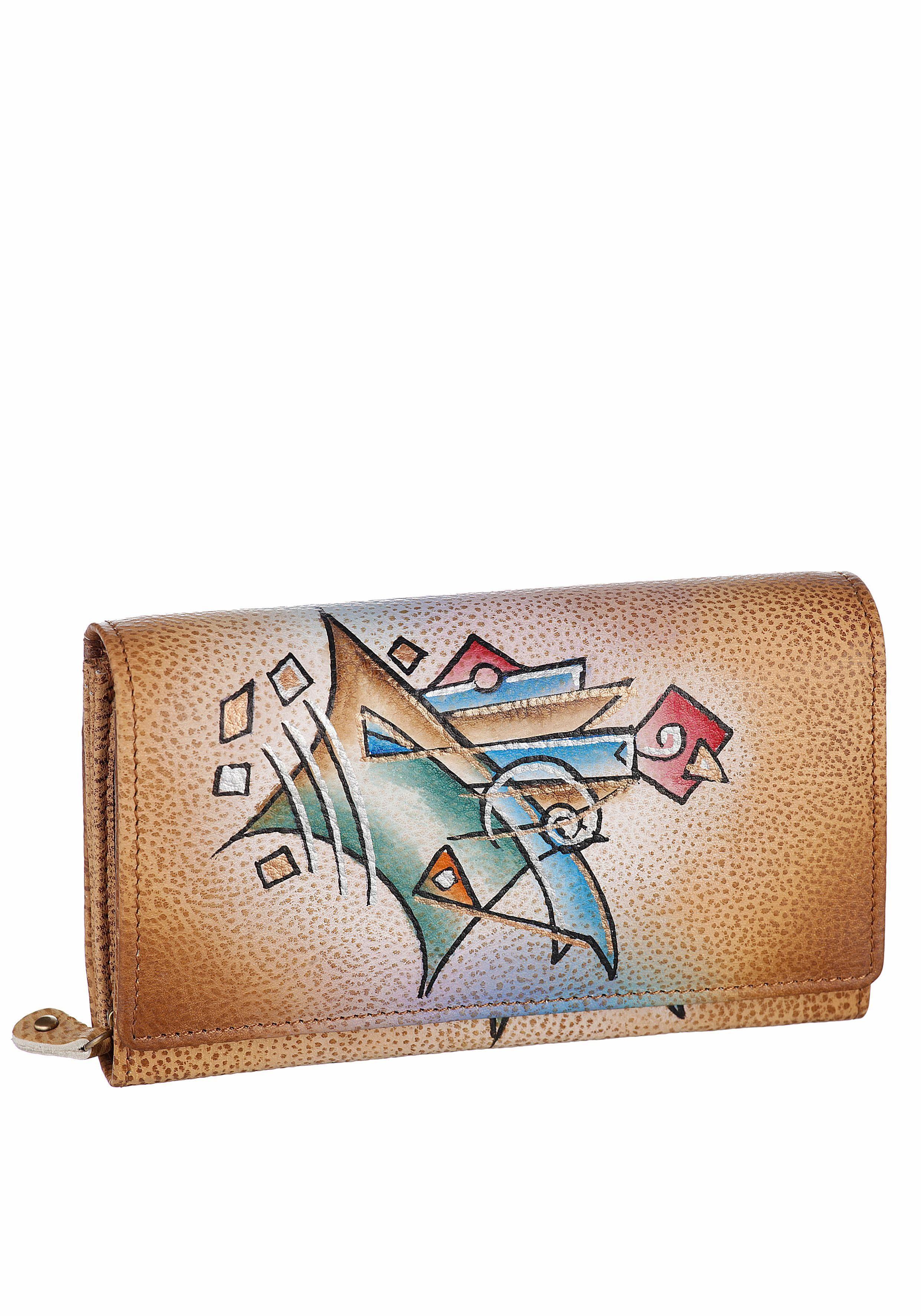 Art & Craft Geldbörse, aus echtem Leder mit 3 Scheinfächer