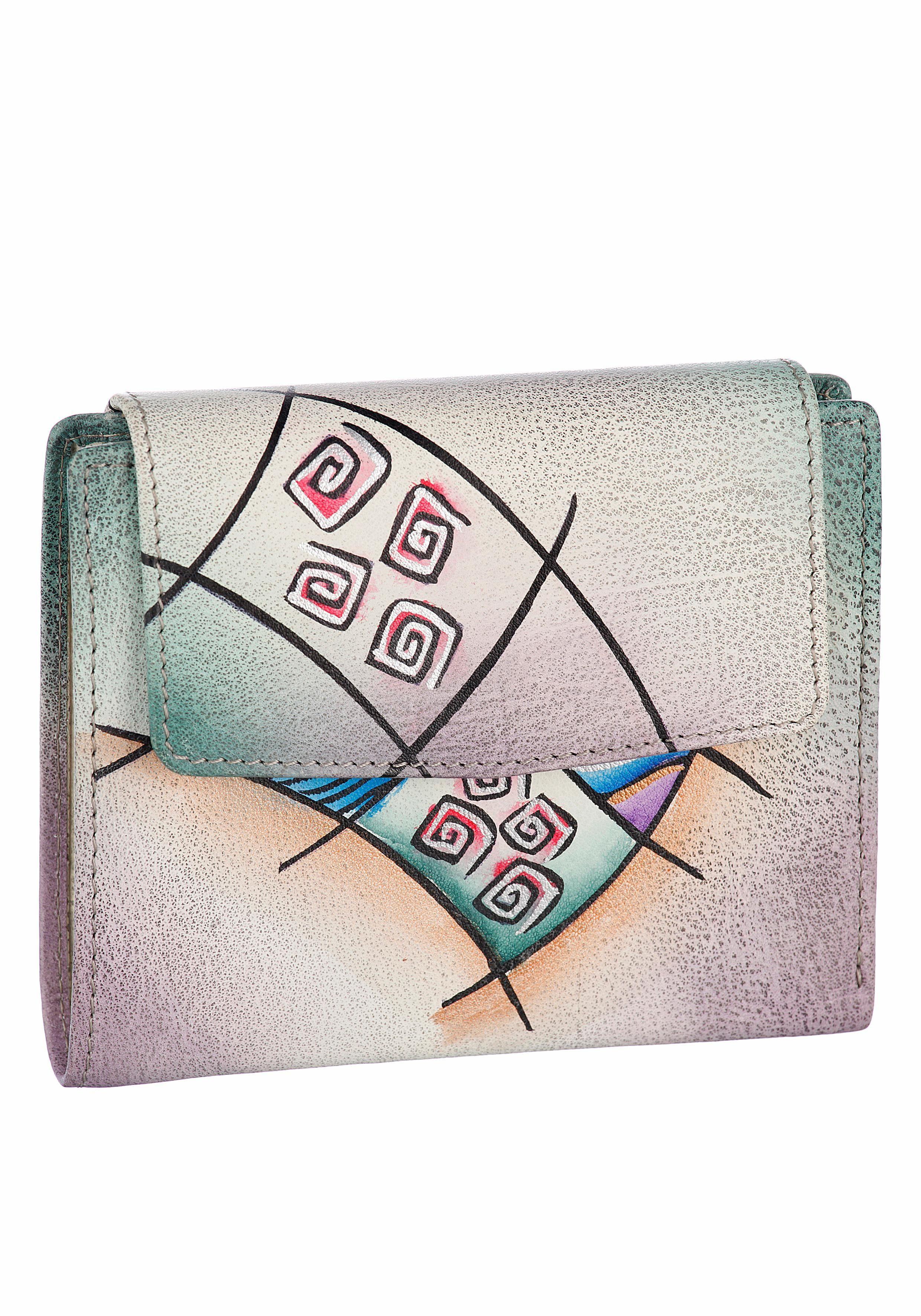 Art & Craft Geldbörse, aus echtem Leder im Querformat
