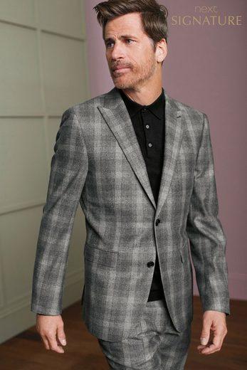 Next Karierter Slim-Fit Baukasten-Anzug-Sakko aus Wolle