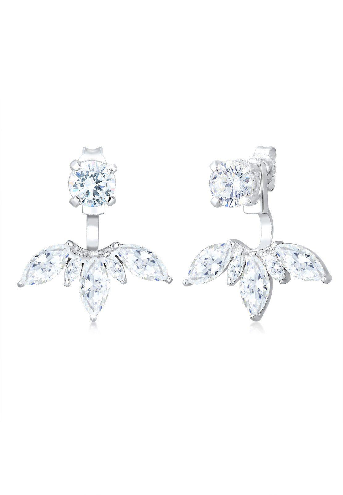 Elli Ohrringe »Floral Ear Jackets Zirkonia 925 Sterling Silber«