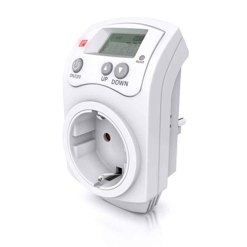 BEARWARE Steckdosen-Thermostat, max. 3680 W, Steckdosen Thermostat programmierbar von 5°-30°C LCD Display mit Statusanzeige
