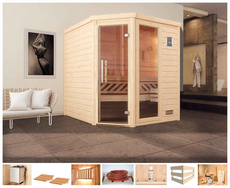 weka Sauna »Arendal 2«, BxTxH: 195 x 195 x 205 cm, 45 mm, 9 kW Ofen mit int. Steuerung