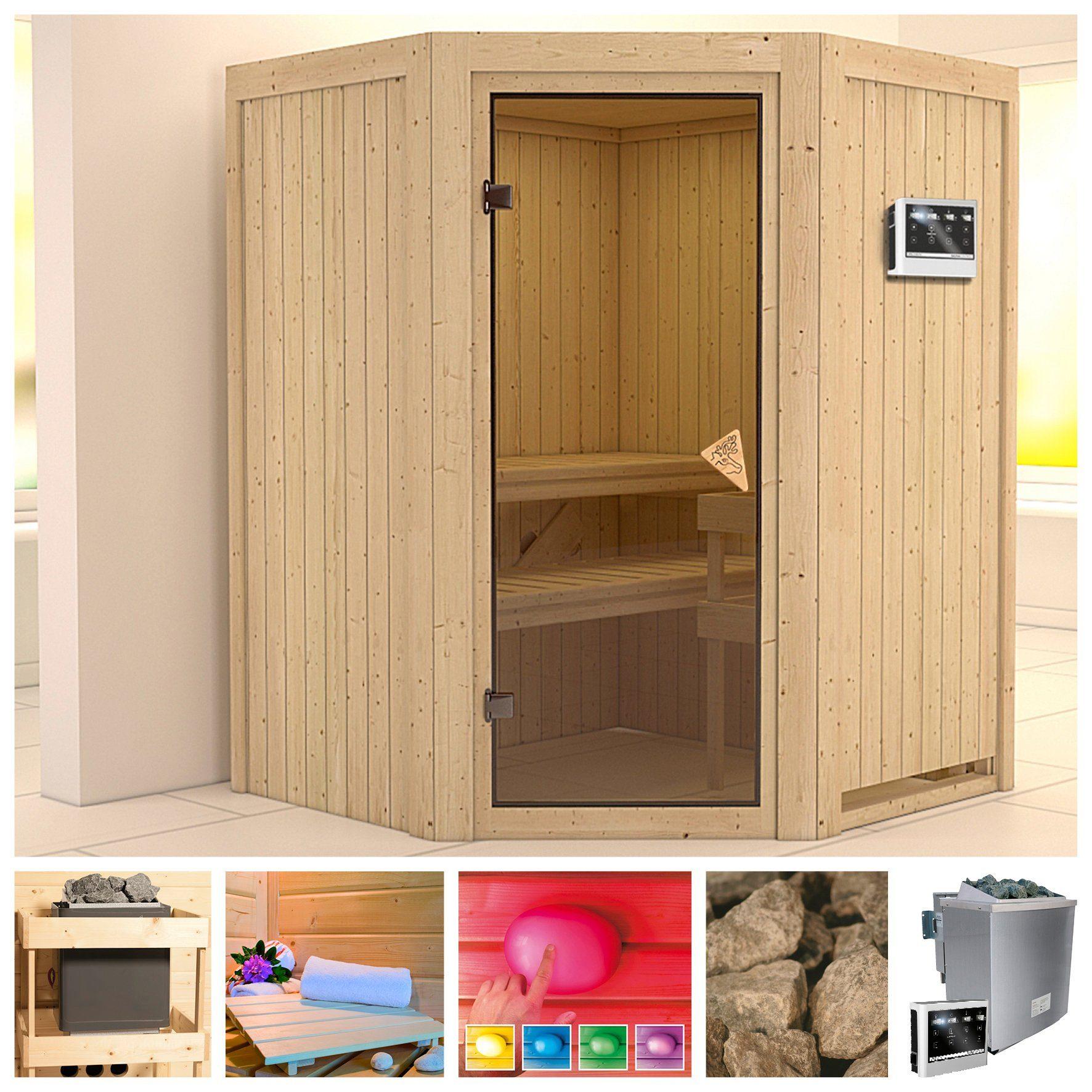 KONIFERA Sauna »Larin«, 151/151/198 cm, 68 mm, 9-kW-Bio-Kombiofen mit ext. Steuerung