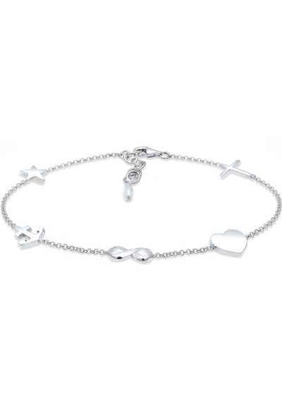 Elli Armband »Kreuz Herz Infinity-Unendlichkeitsschleife Anker Stern, 0201951617«