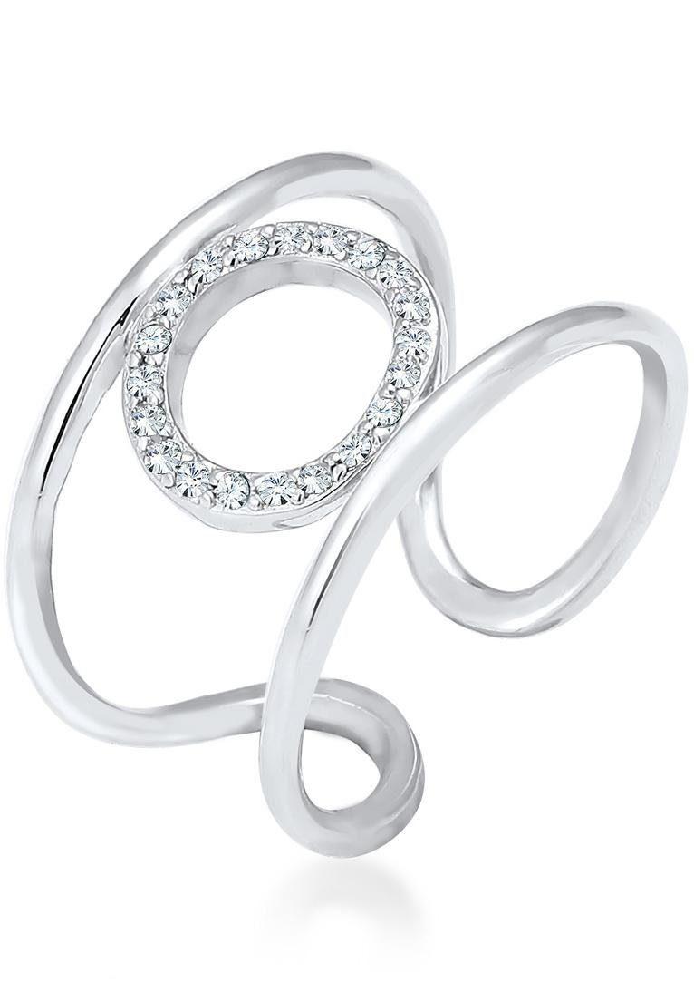 Elli Silberring »Kreis Geo Minimal, 0602292717« mit Swarovski® Kristallen
