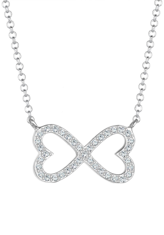 Elli Kette mit Anhänger »Herz Infinity-Unendlichkeitsschleife, 0101783117«, mit Swarovsi® Kristallen