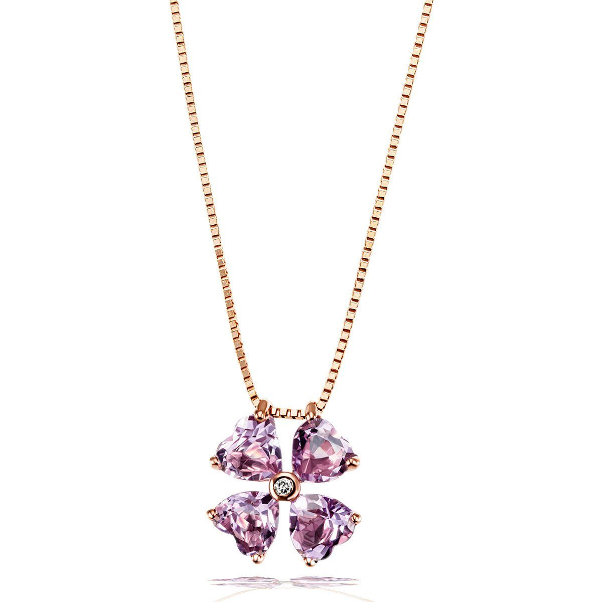 goldmaid Collier 375/- Rotgold 4 Amethysten 1 Brillant P1 0,02 ct.