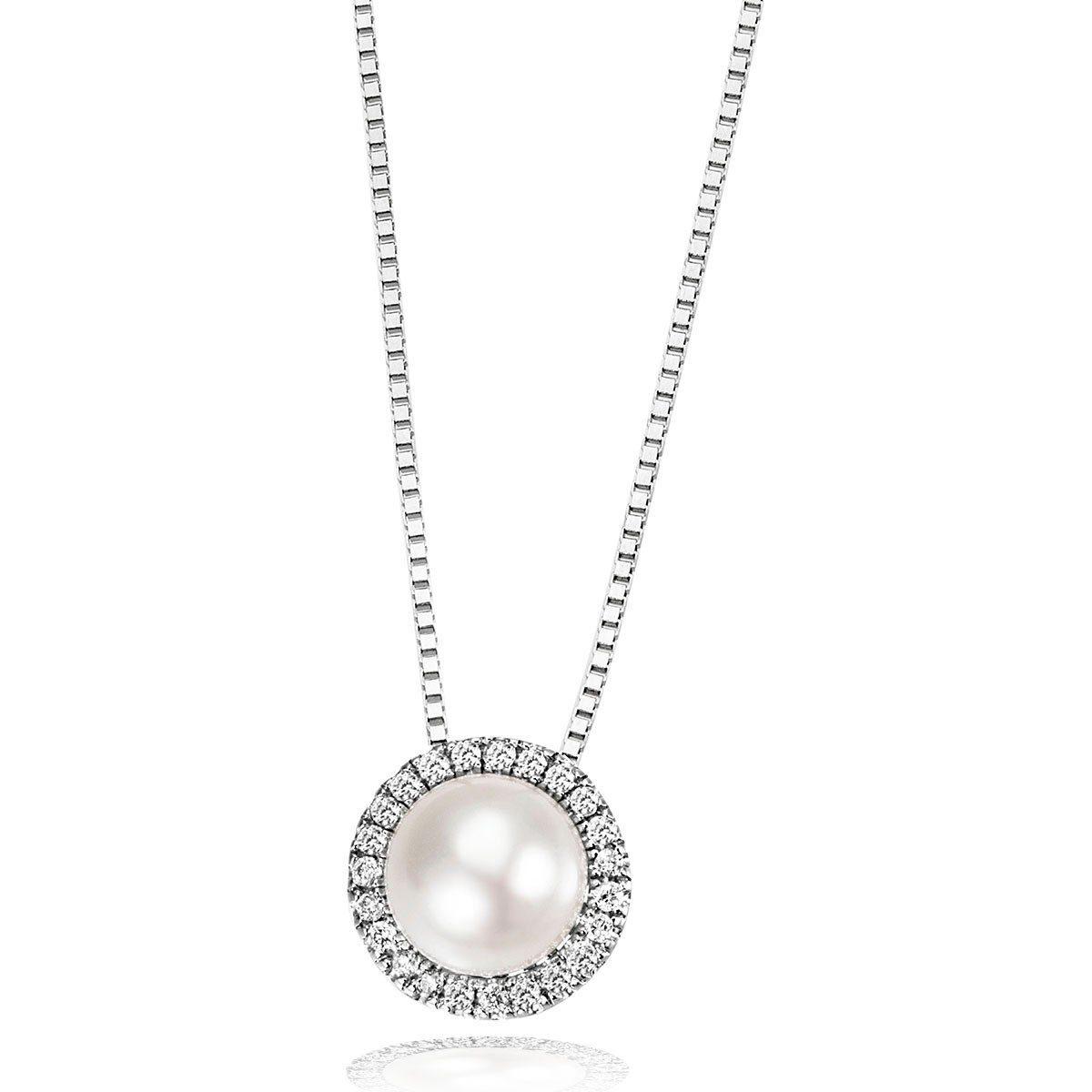 goldmaid Collier 375/- Weißgold 1 Perle 23 Brillanten