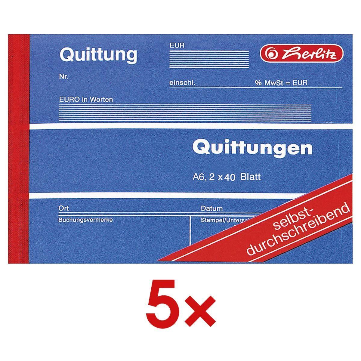5x Formularbuch »Quittung inkl. MwSt.« 1 Set